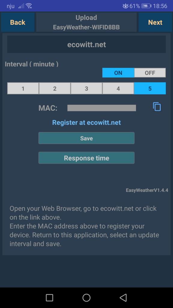 Screen aplikacji Ws view serwer ecowitt